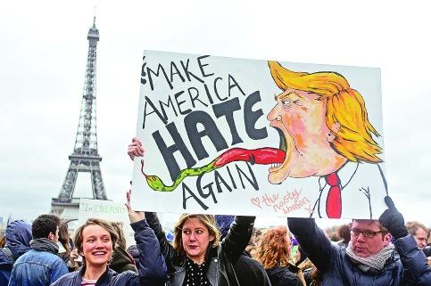 「禁穆令」出台後,法國巴黎掀起反特朗普示威